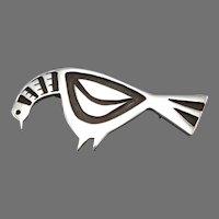 Vintage Sterling Silver Figural Bird Pin Cut Out Shadow Brooch Pigeon Chicken Modernist