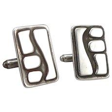 Vintage Modernist Sterling Silver Cufflinks Cuff Button Links Modern