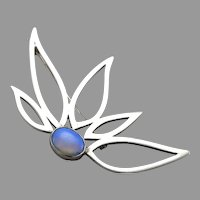 Vintage Modernist Sterling Silver Opal Cabochon Brooch Pin Feather Leaf Petal Wing