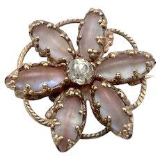 Antique Victorian Saphiret Glass Jewel Flower Pin Brooch Rhinestone GF/RGP