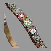 "Vintage Micromosaic Rectangular Link Bracelet Micro Mosaic 7"" Flowers Scroll"
