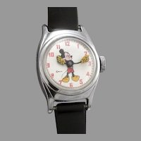 Vintage MICKEY MOUSE Wristwatch Wrist Watch US Time Wind Up W.D.P. Disney