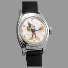 Vintage MICKEY MOUSE Wristwatch Wrist Watch US Time Wind Up W.D.P. Disney