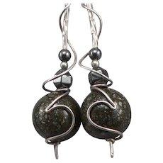 Vintage SILVER Pierced Dangle EARRINGS Pyrite in Quartz Hematite Modernist 8.2g