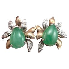 Vintage 14K Yellow White GOLD Green JADE & Diamond Pierced Stud EARRINGS 4.8g