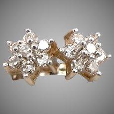 14K Yellow GOLD .28tcw Diamond Cluster Flower Star Pierced Stud Earrings 1 Gram