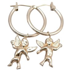 14K Yellow GOLD Hoop Pierced EARRINGS Removable Cupid Cherub Dangle 0.9g Vintage