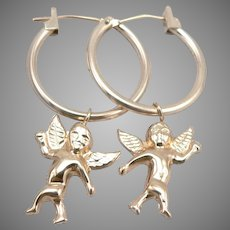 14K Yellow GOLD Hoop Pierced EARRINGS Removable Cupid Cherub Dangle 0.9g Vintage