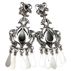 STERLING Silver Long Chandelier Dangle Pierced Earrings Black Glass Openwork 11g