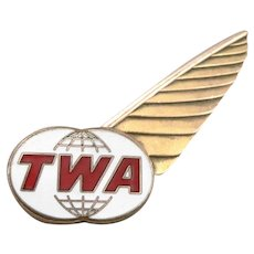 RK 1970's Vintage TWA Flight Attendant Stewardess WINGS Pin Trans World Airlines