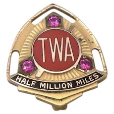 Vintage TWA Half Million Miles Award Pin Badge GF Rubies Trans World Airlines
