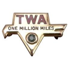 Vintage TWA One Million Miles Award Pin Badge GF Emerald Trans World Airlines