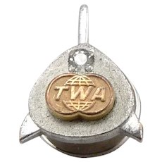 Vintage TWA 25 Year Service Award Pin Badge Clear Spinel Trans World Airlines