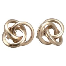 Vintage 14K Yellow GOLD Love KNOT Pierced Stud EARRINGS 3 Ring Lovers Knot 2.4g