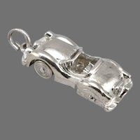 Vintage STERLING Silver Convertible Roadster CAR Charm Pendant 3-D Moves 4g