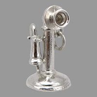 Vintage Wells STERLING Silver Candlestick TELEPHONE Phone Charm Pendant 3-D 4.8g