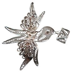 Vintage 800 Silver Filigree Dove with Love Letter Pin Brooch ITALY Bird Envelope