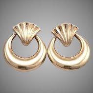14K Yellow GOLD Door Knocker Pierced Dangle EARRINGS 5.6 Grams CARLA Vintage