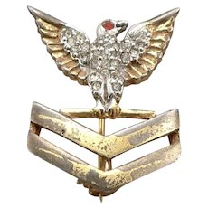 Vintage WWII Sterling Silver US NAVY Rhinestone Naval Sweetheart Pin Eagle