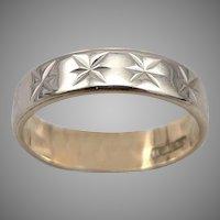 Vintage 14K GOLD Star Cut Eternity Band Wedding Ring 2.8g Size 6 Yellow & White