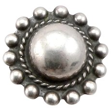 Vintage SILVER Button Dome Ring Beaded Edge Southwestern Stamped Band Details