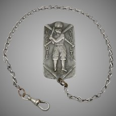 Vintage LADDIE ATHLETE Baseball Theme Belt Clip Pocket Watch Chain Antique Fob