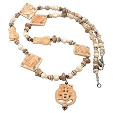 Vintage Carved Bone Beads Beaded Necklace CAT Design Oriental SILVER Catch