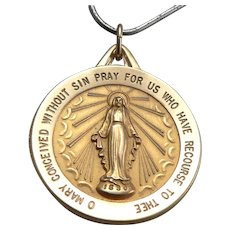 """14K Yellow Gold Miraculous Medal Virgin Mary Pendant Charm Large 1"""" Disk Vintage Estate"""