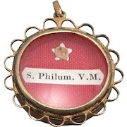 Vintage 800 Silver Vermeil St. Saint Philum Philomena Reliquary RELIC Theca Pendant Virgin Martyr