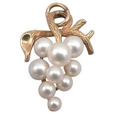 Vintage 14K Yellow GOLD Cultured Pearl Cluster Bunch of Grapes Pendant Krementz 3.9 Grams