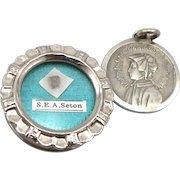 Vintage St. Saint Elizabeth Ann Seton Reliquary Relic Theca Pendant & Medal S. E. A. Seton