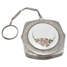 Vintage Guilloche Enamel Floral COMPACT Case with Finger Ring Chain Silvertone