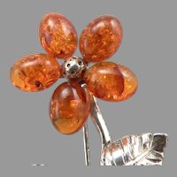800 Silver & Honey Amber Flower Petal Brooch Pin 4.2 Grams Estate