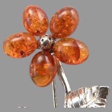 800 Silver & Honey Amber Flower Petal Brooch Pin 4.2 Grams Estate