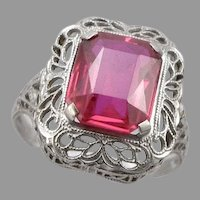 Vintage Art Deco 14K White GOLD Filigree Lab Ruby RING 2.9g Ostby & Barton Size7