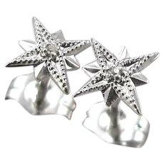 Vintage 14K White GOLD DIAMOND Starburst Pierced Stud EARRINGS 0.6 Grams Estate