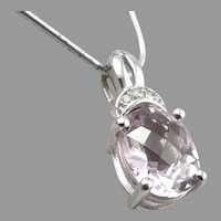 14K White GOLD Oval Checkerboard Cut Rose de France Amethyst Diamond Pendant 2g