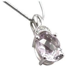14K White GOLD Oval Checkerboard Cut Rose de France Amethyst Diamond Pendant 2g