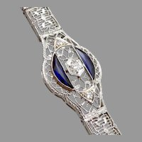 Art Deco Vintage 14K White GOLD Filigree Platinum Blue Sapphire Diamond BRACELET Antique
