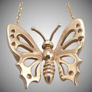 14K Yellow GOLD Openwork BUTTERFLY Necklace Figural 3.7 Grams Estate