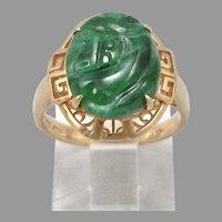 Vintage 18K Gold Dark Green Jadeite JADE Ring Greek Key Design 5.6g Size 6.75