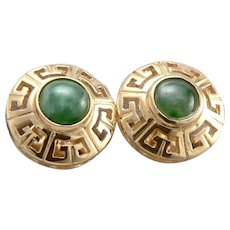 Vintage 18K GOLD Green JADE Cabochon Pierced Stud EARRINGS 3.4 Grams Greek Key