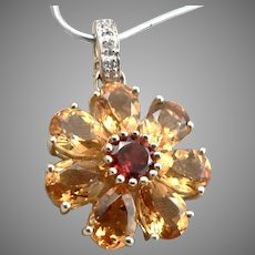 14K Yellow GOLD Citrine Garnet Diamond FLOWER Enhancer Pendant 3.5 Grams Vintage