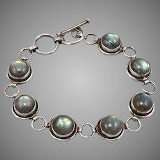 Vintage STERLING Silver 9mm Labradorite Cabochon 7-Stone Bracelet T Bar Catch