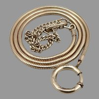 Vintage Round Snake CHAIN Keychain KEY Holder Ring Wallet Safety Watch Goldtone