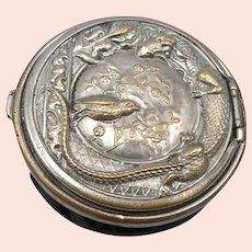 Antique Victorian Leather Coin Purse Pouch Dragon Gazing at Bird Silvertone Top
