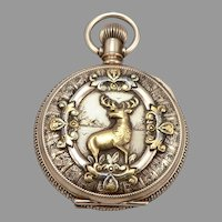 c1890 Antique 14K GOLD Elgin Hunter Case POCKET WATCH Stag Deer Buck 0s 11j
