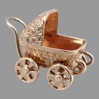 Vintage 14K Yellow GOLD Baby Carriage Pram Stroller 3-D Charm Pendant 2.1g Moves