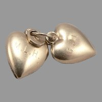 Vintage 14K Yellow GOLD pair of Puffy Heart 3-D Charm Pendant 2.2 Grams Padlock