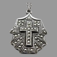 Vintage STERLING Silver Marcasite Enamel Cross Pendant Chain Necklace Religious